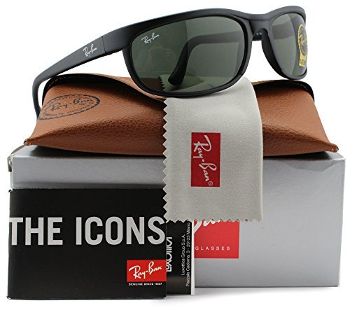 Ray-Ban RB2027 Predator 2 Sunglasses Matte Black w/Crystal Green (W1847) 2027 W1847 62mm (Matte Black Crystal Green)