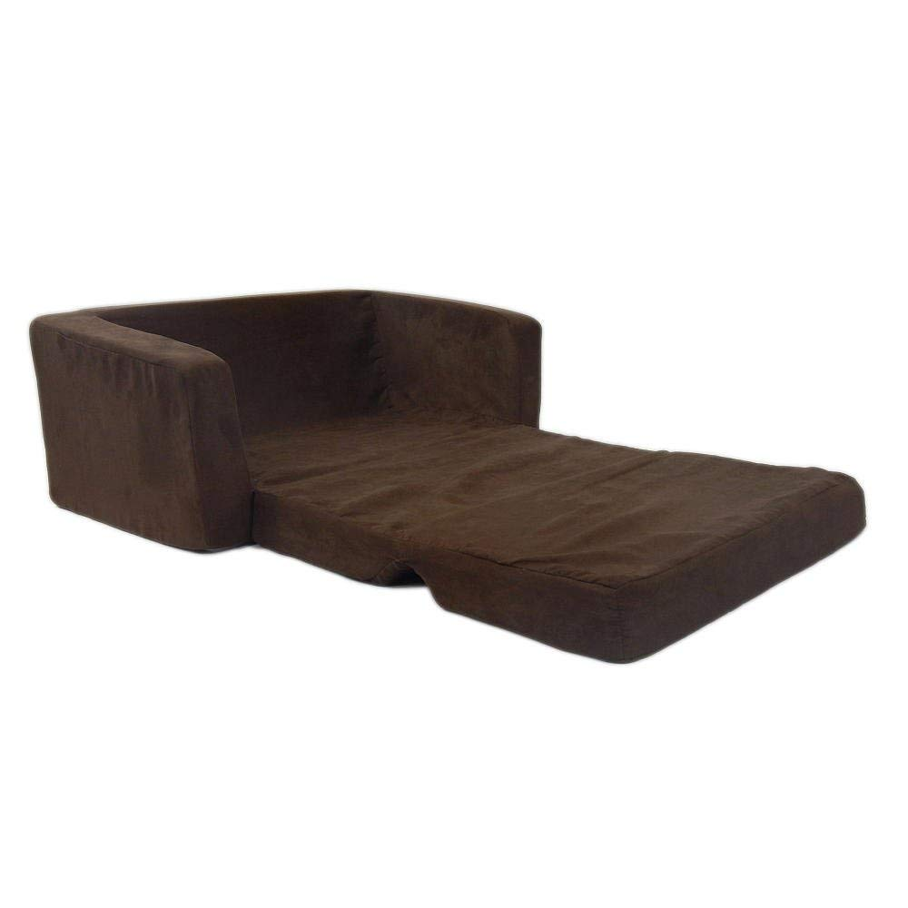 Fun Furnishings 55247 Toddler Flip Sofa in Micro Suede Fabric Renewed Chocolate