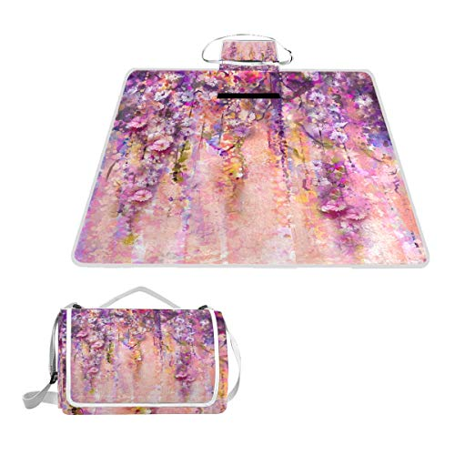 MAPOLO Pink Violet Watercolor Flowers Painting Wisteria Tree Picnic Blanket Waterproof Outdoor Blanket Foldable Picnic Handy Mat Tote for Beach Camping Hiking