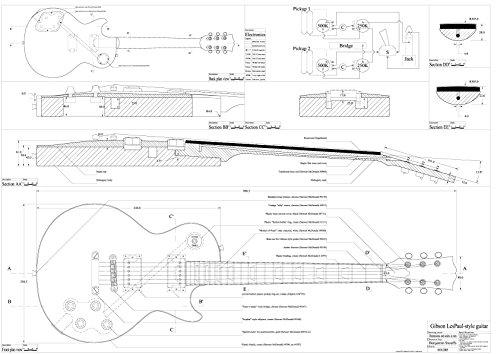 set of 4 gibson electric guitar plans es 335 cs 356 les paul and rh amazon ca