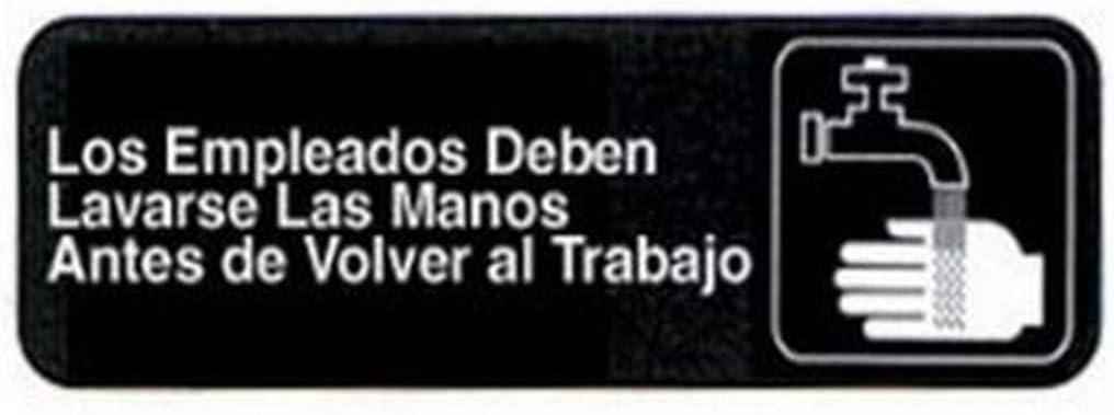 Employees Must Wash Hands Spanish Sign | Los Empleados Deben Lavarse Las Manos Antes de Volver al Trabajo | Commerical Quality for Restaurant Use