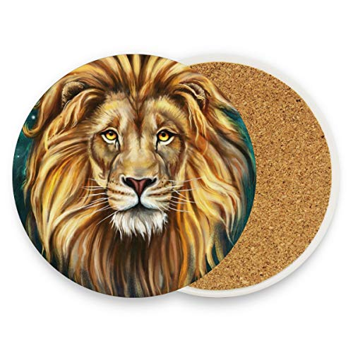 Aslan Lion Coasters, Protect Your Furniture From Stains,Coffee, Wood Coasters Funny Housewarming Gift,Round Cup Mat Pad For Home, Kitchen Or Bar 1 Piece