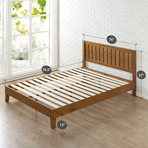Zinus 12 Inch Deluxe Wood Platform Bed with Headboard / No Box Spring Needed / Wood Slat Support / Rustic Pine Finish, King