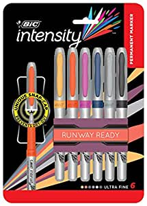 BIC Intensity Permanent Ultra Fine Point Markers – 6 Assorted Runway Ready Fashion Colours - Low Odour, Non Toxic, Snap Lock Cap, Non Slip Grip