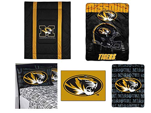 (Northwest NCAA Missouri Tigers Sidelines 8pc Ensemble: Includes full/queen comforter, full flat sheet, full fitted sheet, 2 pillowcases, rug, throw, and blanket)