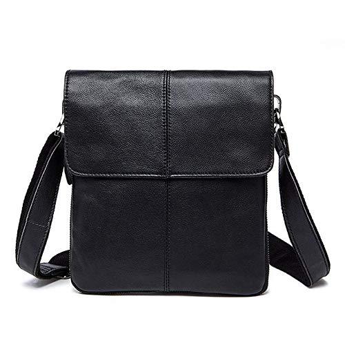 LCLiang Mens Genuine Leather Vintage Cowhide Flip Single Shoulder Bag Color : Black