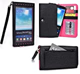 Smartphone Wallet fits Oppo Find 7 | Slate Black & Hot Pink