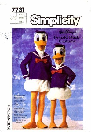 Simplicity 7731 Sewing Pattern Walt Disney's Adult Donald Duck Costume Bust / Chest 32 - 34