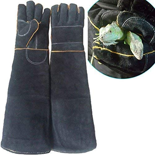 (Sporting Style Animal Handling Anti-bite/scratch Gloves, Safe and Durable Gloves, Breathable Canvas Lining for Dog Cat Bird Snake Parrot Lizard Wild Animals Protection Gloves (Black))