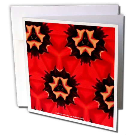 Lee Hiller Designs Kaleidoscope - Kaleidoscope Tulip Red 2 - 12 Greeting Cards with envelopes (gc_5795_2)