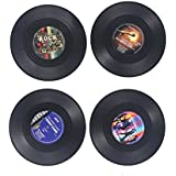 BESTOMZ Record Coasters Cup Mat,4Pcs Vintage Vinyl Record Drinks Coasters Cup Placemat