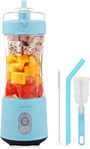 Portable blender, Portable blender for shakes and smoothies, With 4000 mAh battery, USB Recharge, with Six Blades, 380ml mini Handheld Blender for Sports, Office, Travel, Gym and Outdoors(Blue)
