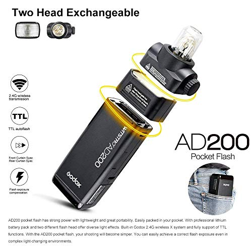 GODOX AD200 TTL 2.4G HSS 1/8000s 2Pcs Pocket Flash Light Double Head 200Ws with 2900mAh Lithium Battery+GODOX XPro-O TTL Flash Trigger Compatible for Olympus Cameras by Godox (Image #6)