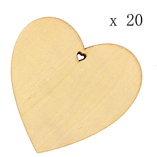Seventopia Heart Wood Discs Bulk with Holes 20 Pieces Unfinished Wooden Tag Rustic Wedding Ornament