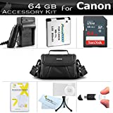 64GB Accessories Kit For Canon Powershot SX400 IS, SX410 IS, SX420 IS Digital Camera Includes 64GB High Speed SD Memory Card + Extended Replacement (900maH) NB-11L Battery + AC/DC Charger + Case +More