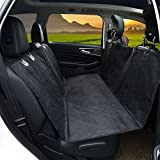 #2: PEDY Luxury Pet Seat Cover for Cars, Dog Car Seat Cover With Anchors, Trucks, and Suv's - Black, Waterproof & Hammock Convertible