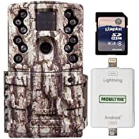 Moultrie 12 MP Long Range Infrared Game Camera + SD Card Reader + 8GB SD Card