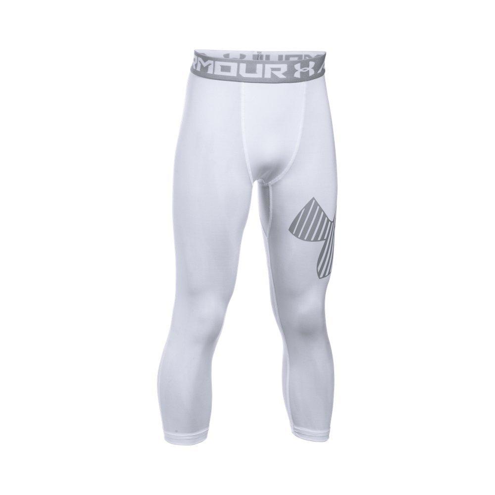 Under Armour Boys' HeatGear Armour Logo ¾ Leggings,White /Overcast Gray, Youth X-Small