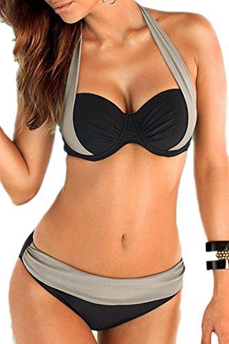 Tankini Halter Grey pezzi Bikini donna imbottitura di Due twn8q1SWv1