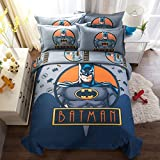 CASA 100% Cotton Kids Bedding Set Boys Batman Duvet cover and Pillow cases and Flat sheet,4 Pieces,King