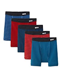 Fruit of the Loom Big Boy's 5-Pack Short Leg Covered Waist Band Bozer Brief
