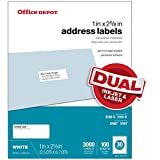 Office Depot White Inkjet/Laser Address Labels, 1in. x 2 5/8in, Box Of 3,000, 505-O004-0004