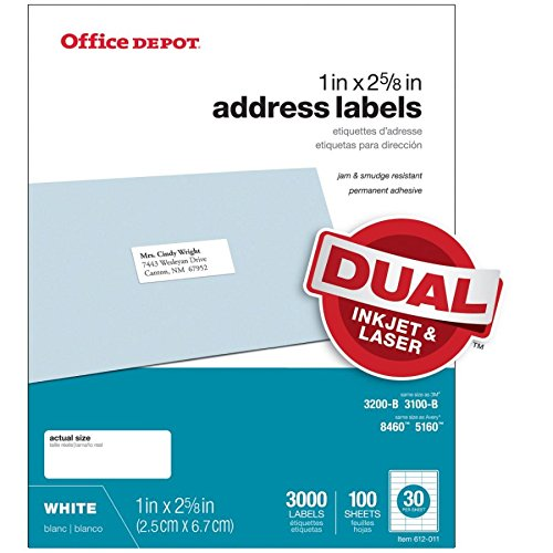 Office Depot White Inkjet/Laser Address Labels, 1in. x 2 5/8in, Box of 3,000, 505-O004-0004