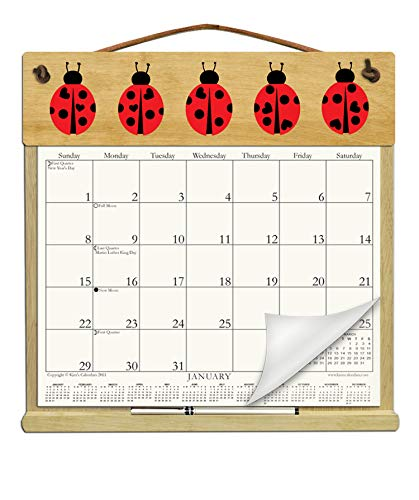 - Wooden Refillable Calendar Holder filled with 2019 and an order form for 2020-LADYBUGS