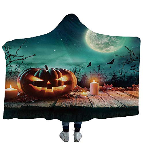 (VAMIX Mens Hooded Blanket Harvest Great for Anxiety Autism and Sensory Processing Disorder Cute Cartoon Fall Composition Nuts Maple Leaves Owls Roosters Pumpkins (Kids 50