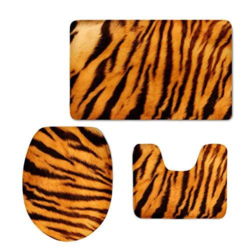 (Hawaii her 3 Piece Set Machine Washable Non-Slip Bath Rug Toilet Seat Cover Bath Mat Lid Cover (Tiger))