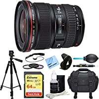 Canon EF 17-40mm F/4 L USM Lens Deluxe Accessory Bundle includes Lens, 64GB SDXC Memory Card, Tripod, 77mm Filter Kit, Lens Hood, Bag, Cleaning Kit, Beach Camera Cloth and More