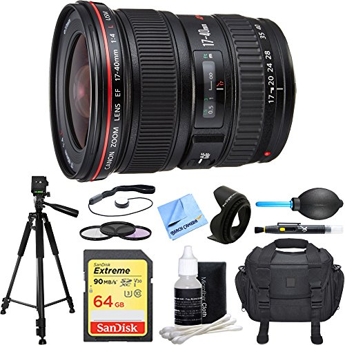 Canon EF 17-40mm F/4 L USM Lens Deluxe Accessory Bundle includes Lens, 64GB SDXC Memory Card, Tripod, 77mm Filter Kit, Lens Hood, Bag, Cleaning Kit, Beach Camera Cloth and More by Canon