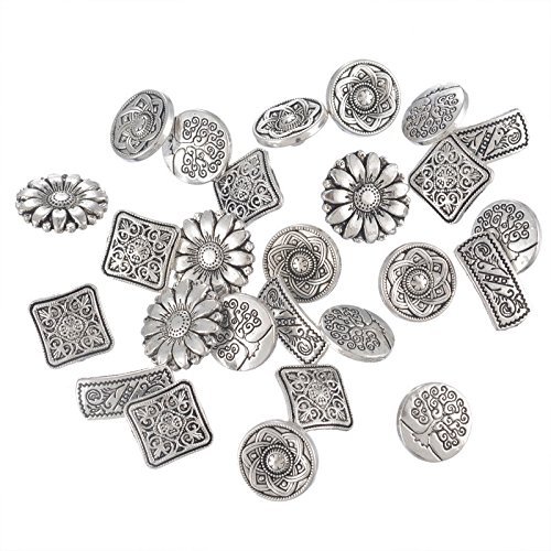 50PCs Mixed Antique Silver Tone Metal Buttons Scrapbooking Shank Buttons Handmade Sewing Accessories Crafts