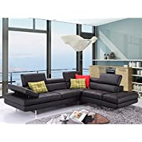 JM Furniture A761 Italian Leather Right Sectional in Black