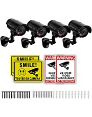 4 Packs Fake Security Camera with No Trespassing Signs Smile You're On Camera Warning Signs and Screws, Dummy Cameras with Realistic LED Red Flashing Light for Outdoor Yard& Indoor Use Set of 8