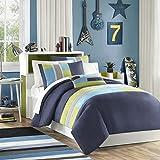 Mi-Zone Pipeline Full/Queen Kids Bedding Sets For Boys - Navy Blue, Striped Pieced – 4 Pieces Boy Comforter Set – Ultra Soft Microfiber Kid Childrens Bedroom Comforters