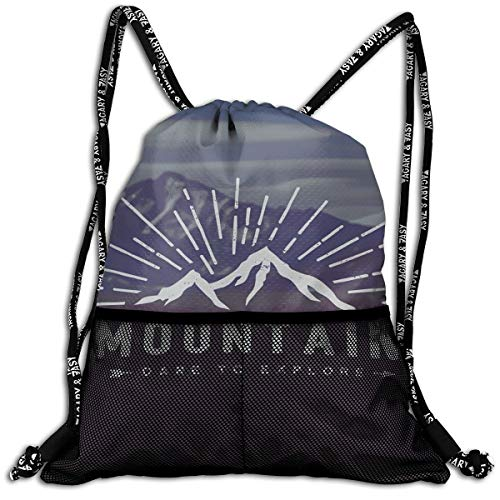 - Drawstring Backpack bags, Dare To Explore Quote Mountain Landscape Journey Adventure Themed Motivational Image