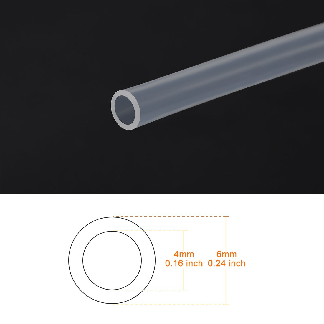 sourcing map PTFE Tube Tubing 2mm ID 4mm OD for 3D Printer RepRap 1 Meter 3.3ft Long for 3.0 Filament Pipe