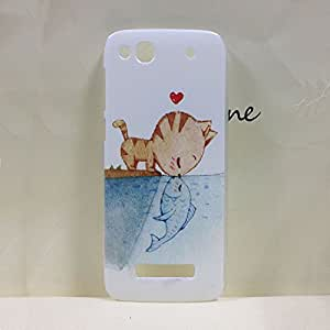 New Painting Hard PC Plastic Phone Case For Alcatel OT6032 +screen protector (Cat kiss Fish)
