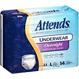 Attends Incontinence Care Underwear for Adults, Overnight, Large, 14 Count (Pack of 4)
