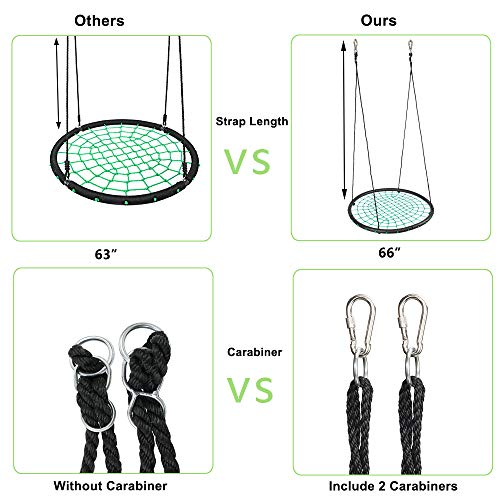 JOYMOR 40 Inch Over 600 lbs Net Spider Web Round Rope Swing with Adjustable 6Ft Hanging Staps,Great for Swing Set, Backyard, Playground, Playroom (Green)