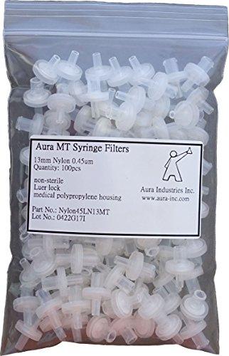 - Aura MT Syringe Filter, Nylon, 0.45um Pore Size,13mm Diameter (Pack of 100)