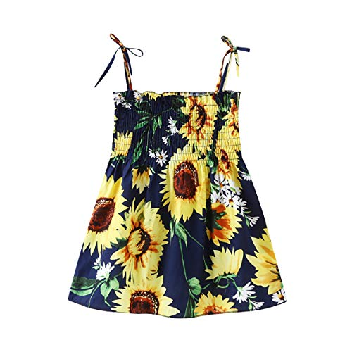 Casual Baby Girl Summer Beach Dress Outfits Kids Toddler Strap Elastic Sunflower Dress Playwear Clothes 120/4-5T