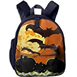 Ugift Funny Print Halloween Moon with Bats 2-6 Child Book Bag Birthday Gift Prize Schoolbag