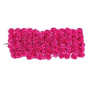 Misright 144pcs DIY Rose Mini Artificial Flowers Bouquet Solid Color Wedding Decoration 5