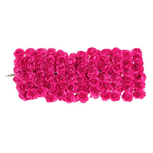 Misright 144pcs DIY Rose Mini Artificial Flowers Bouquet Solid Color Wedding Decoration (Hot Pink) ()