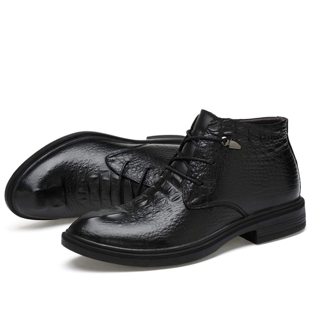 Herren Stiefeletten, Casual Grade Crocodile Print OX Leder High Top Top Top Formale Schuhe (warme Velvet optional) (Farbe   Schwarz, Größe   42 EU) (Farbe   Wie Gezeigt, Größe   Einheitsgröße) adbaa7