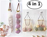 Mesh Bags for Fruit and Vegetable Hanging Storage for Potato Onions Green Pepper Fruits Garlic 2 Size - Pack of 4