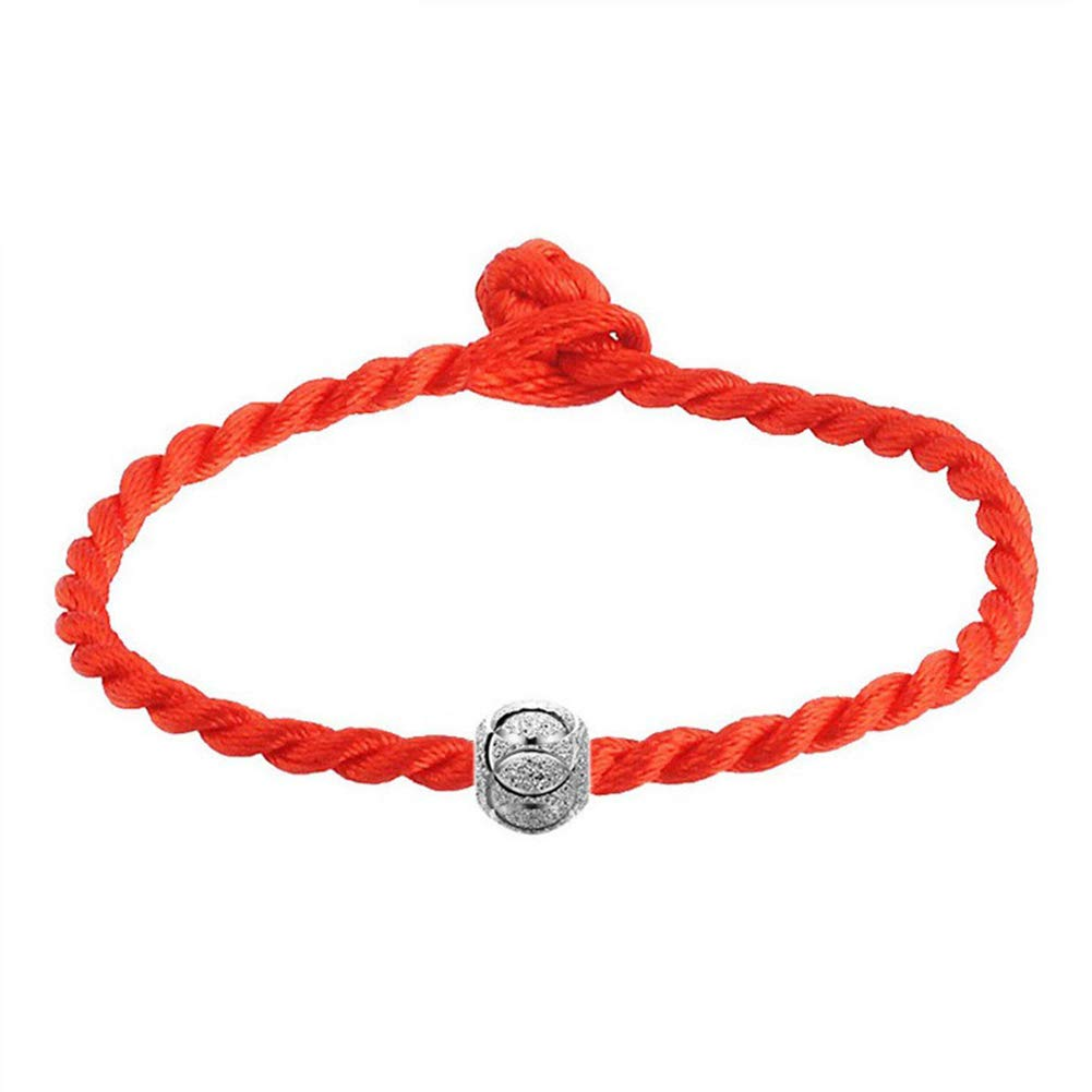 Angel3292 Ethnic Silver Plated Bead Braided Red Rope Bracelet Unisex Lucky Wrist Decor