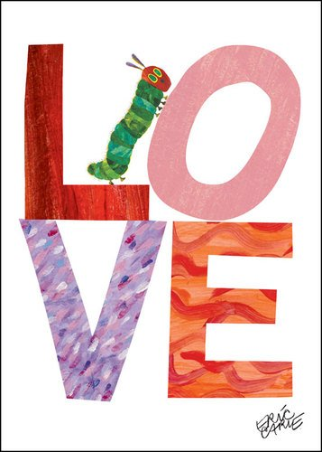 Oopsy Daisy Fine Art for Kids Caterpillar Love Stretched Canvas Art by Eric Carle, 10 by 14-Inch (Eric Carle Prints)